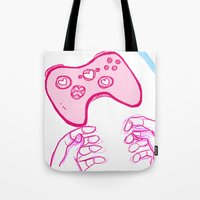xbox Tote Bags featuring Love You, Xbox by AtomicLogan