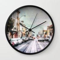 san francisco Wall Clocks featuring San Francisco by Sarah Van Neyghem