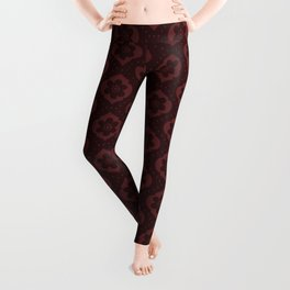 Dark red Moroccan floral with dots Leggings