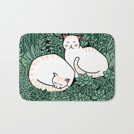 Cats in a succulent garden Bath Mat