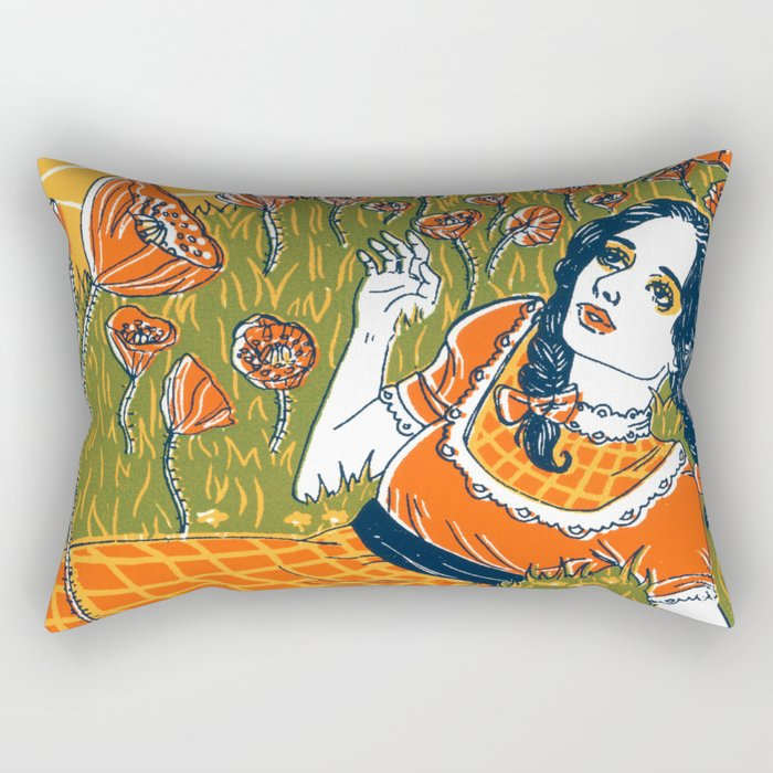 Dorothy in the Poppy Field Rectangular Pillow
