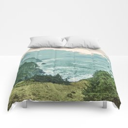 Oregon Coast Sunrise in Simplified Color Comforters