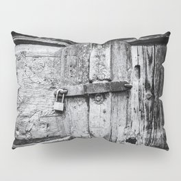 Doors of the World | Close-up Wooden Door with key lock in Rethymnon Crete, Greece, Europe | Black & White Photography | Travel Photography | Photo Print | Art Print Pillow Sham