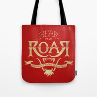 lannister Tote Bags featuring Game of Type by Jango Snow