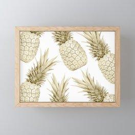 Gold Pineapple Bling Framed Mini Art Print