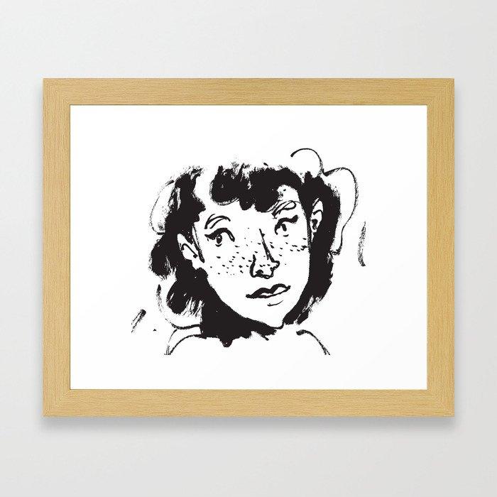 Ink Portrait Framed Art Print