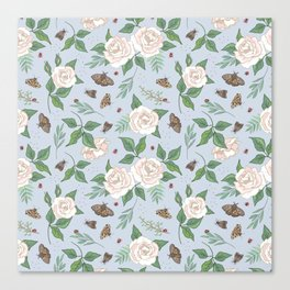Roses, Moths and Ladybirds Canvas Print
