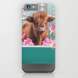 Highland Cow with turquoise Bathtub and Lotos Flowers iPhone Case