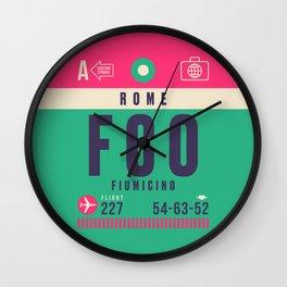 Retro Airline Luggage Tag - FCO Rome Fiumicino Wall Clock
