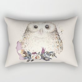 Boho Illustration- Be Wise Little Owl Rectangular Pillow