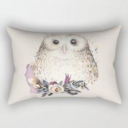 Boho Illustration- Be Wise Little Owl Rectangular Pillow