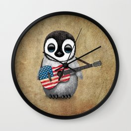 Baby Penguin Playing American Flag Acoustic Guitar Wall Clock