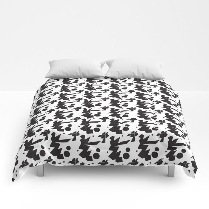 abstract landscape bw shapes Comforters