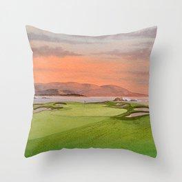 Pebble Beach Golf Course Hole 17 Throw Pillow