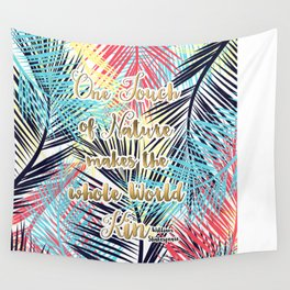 Tropical leaves Nature gold quote design Wall Tapestry