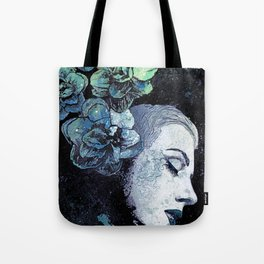 Obey Me: Blue (graffiti flower woman portrait) Tote Bag