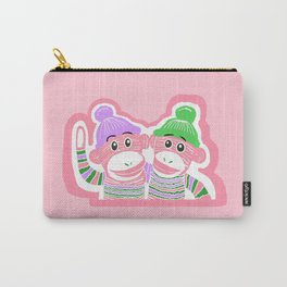 Pink, Purple, and Green Sock Monkeys Art Carry-All Pouch