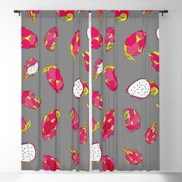Dragon Fruit on Grey Blackout Curtain