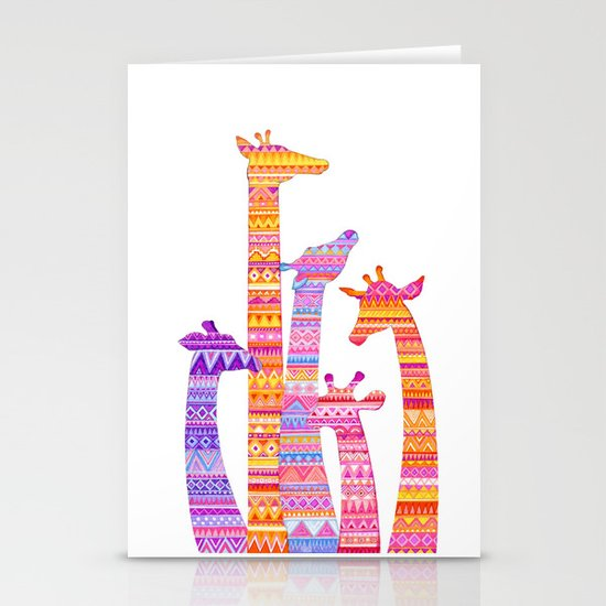Giraffe Silhouettes in Colorful Tribal Print Stationery Cards