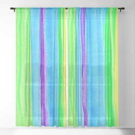 Neon Rainbow Stripes Sheer Curtain