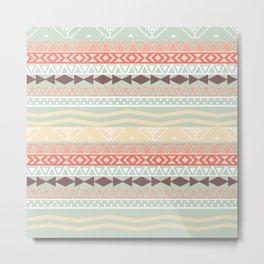 Aztec In Fall | Retro Pink Brown Teal Geo Pattern Metal Print