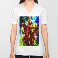 fall V-neck T-shirts featuring fall by KrisLeov
