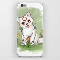 okami iPhone & iPod Skins featuring Okami Chibiterasu by Brandy Woods