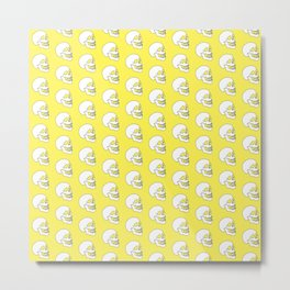 White Skull Pattern with Light Yellow Background Metal Print