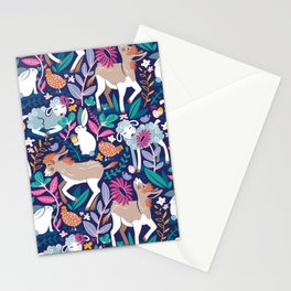 Spring Joy // navy blue background pale blue lambs and brown taupe donkeys blue mint and pink garden Stationery Cards