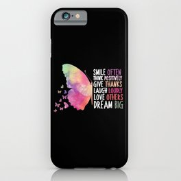 Butterfly positive Thoughts and Love iPhone Case