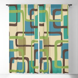 Mid Century Modern Overlapping Squares Pattern 125 Blackout Curtain