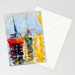 Harbor Boats at Sunrise Stationery Cards