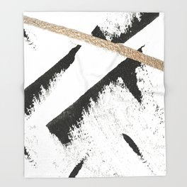 Sassy: a minimal abstract mixed-media piece in black, white, and gold by Alyssa Hamilton Art Throw Blanket
