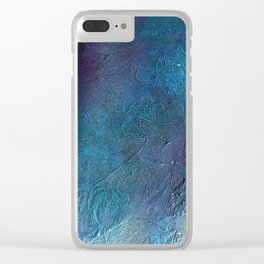 Atmosphere // blue magenta abstract textural painting, modern Clear iPhone Case