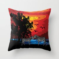 safari Throw Pillows featuring Safari  by Cindys