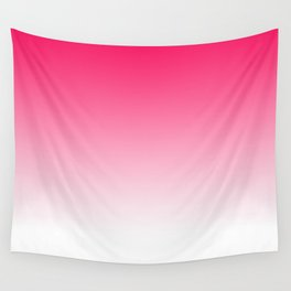 Modern bright simple neon pink white color ombre gradient Wall Tapestry