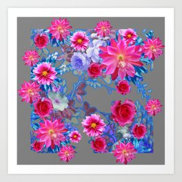 GREY FLORAL TAPESTRY OF ASSORTED PINK  FLOWERS Art Print