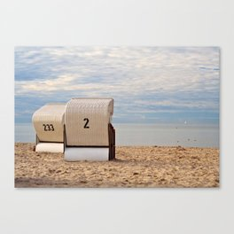 two lonely beach chairs Canvas Print