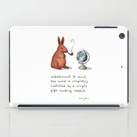 smoking iPad Cases featuring Pipe-smoking rabbit by Marc Johns