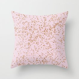 Rose gold diamond confetti Throw Pillow