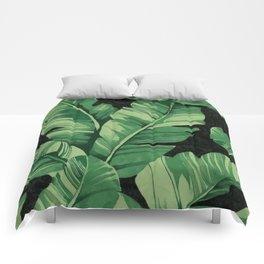 Tropical banana leaves II Comforters