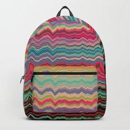 Vintage distorted soundwaves pattern Backpack