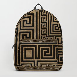 Greek Key Ornament - Greek Meander -Black on gold Backpack