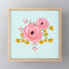 Loose Pink Boho Floral Pattern Framed Mini Art Print