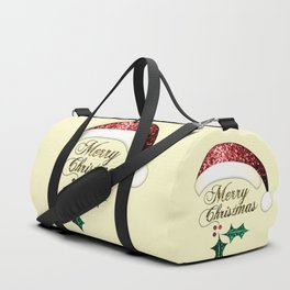 Merry Christmas Santa hat with red, gold and green sparkles Duffle Bag