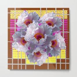 COFFEE BROWN YELLOW WHITE TREE PEONY FLOWERS Metal Print