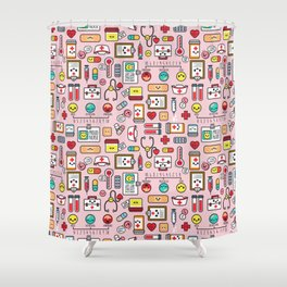 Proud To Be A Nurse pattern in pink Shower Curtain