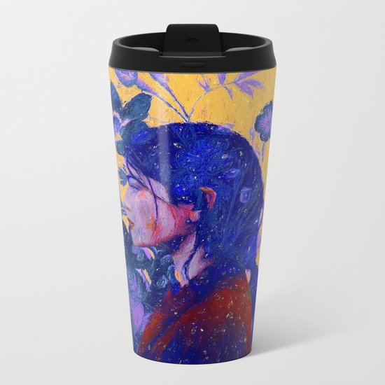 mysterious woman in flowers Metal Travel Mug