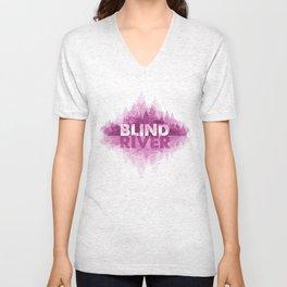 Blind River Trees (pink) Unisex V-Neck