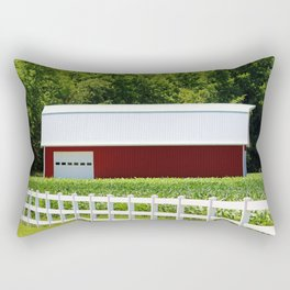 Red Barn And White Fence Rectangular Pillow